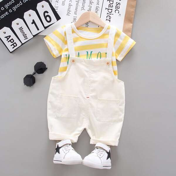 Toddler Boys Letter Graphic Striped Tee & Pinafore Jumpsuit, Multicolor