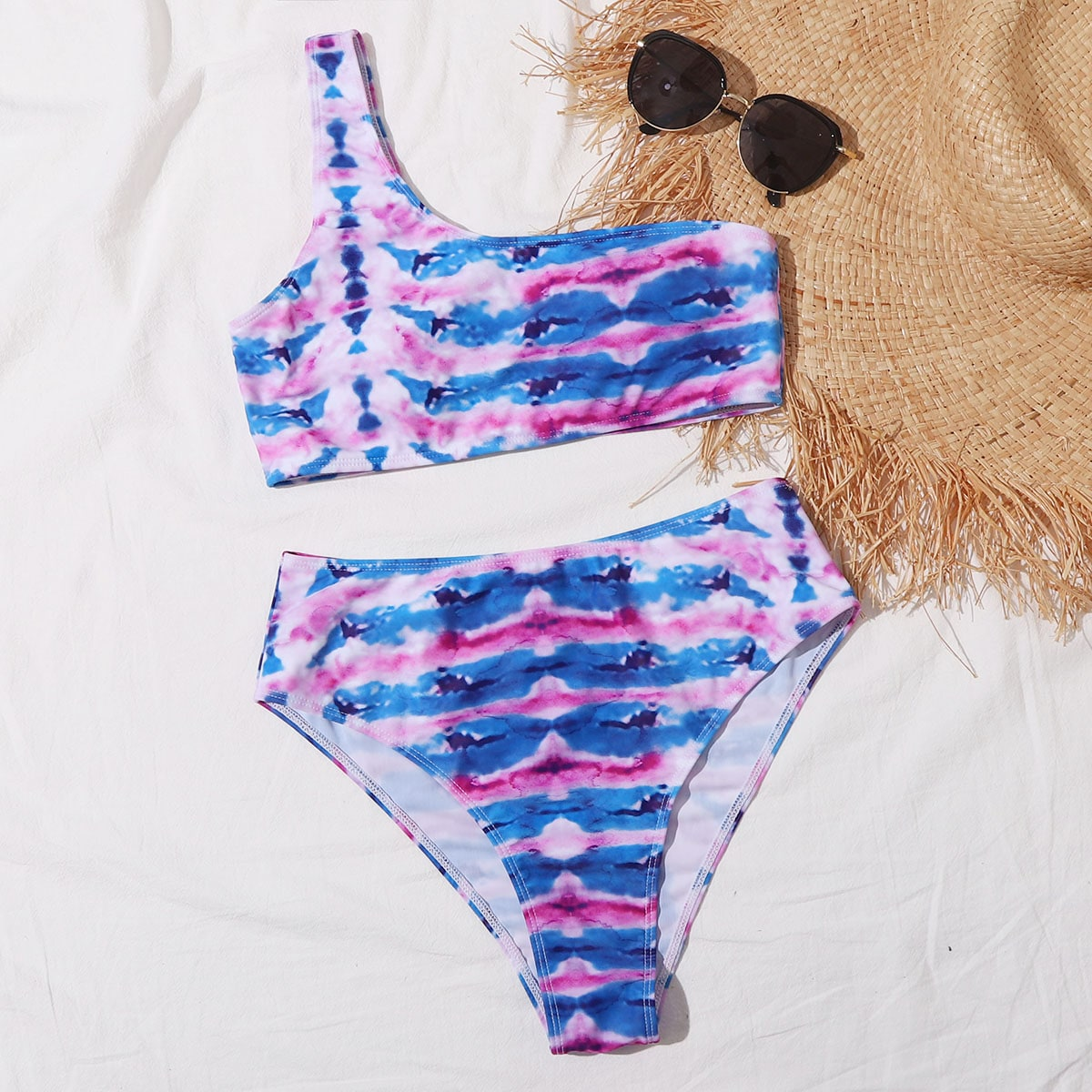 Tie Dye One Shoulder High Waisted Bikini Swimsuit thumbnail