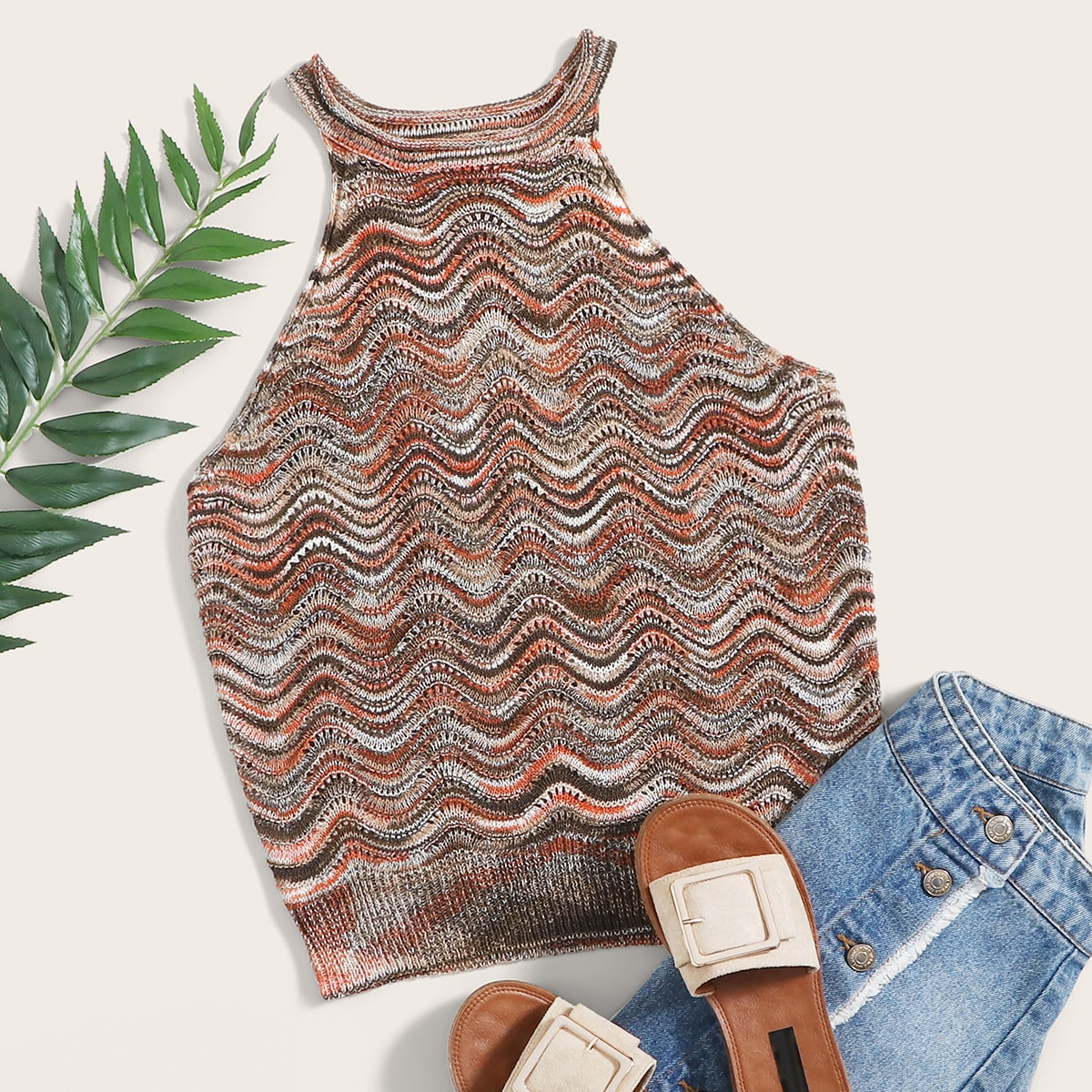 Halter Wave Knit Top thumbnail