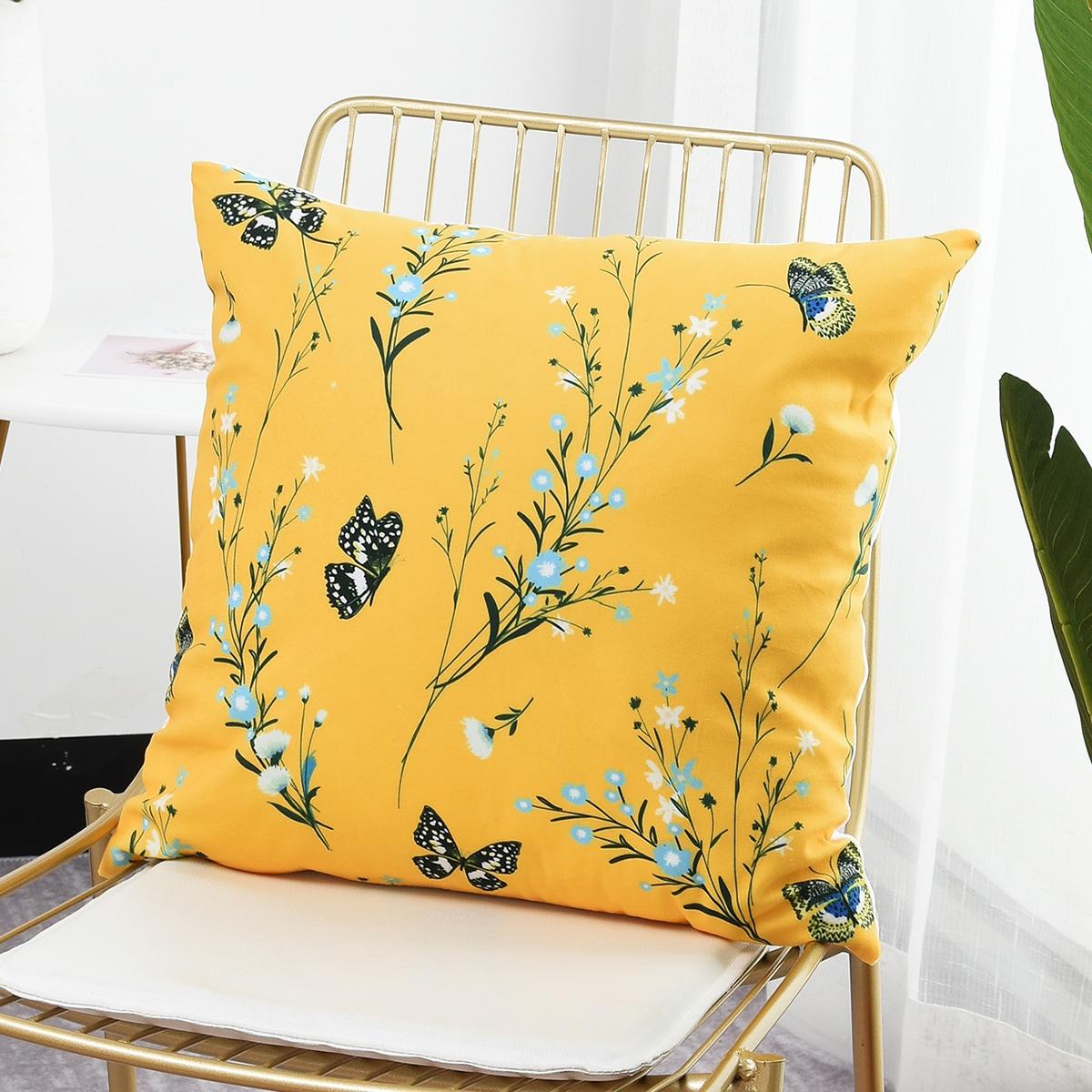 Kissenbezug mit Blumen & Schmetterling Muster