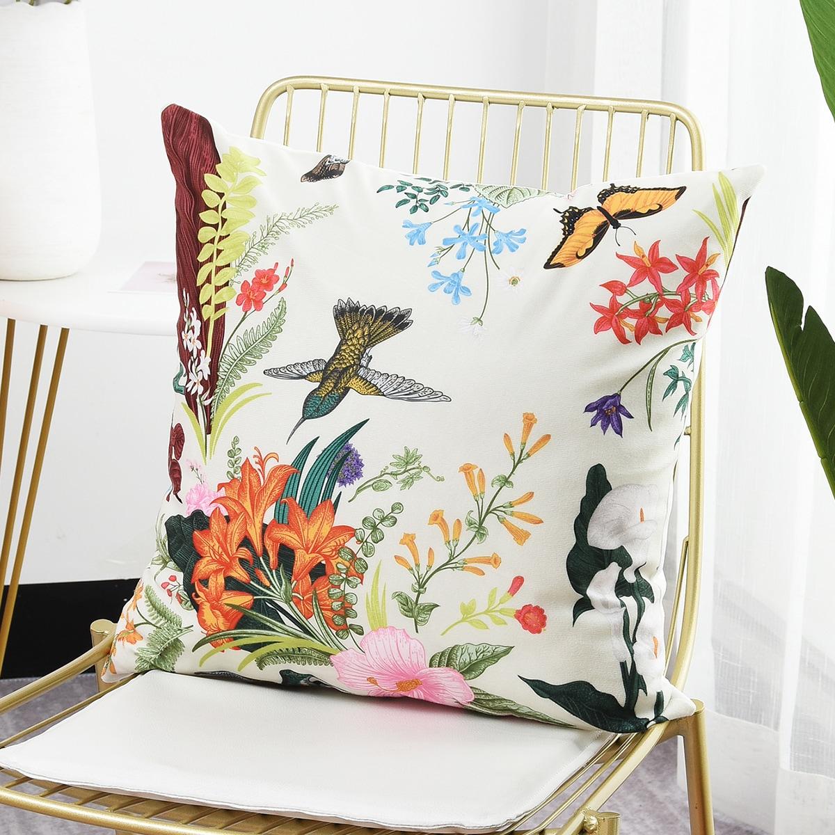 Flower & Animal Print Cushion Cover