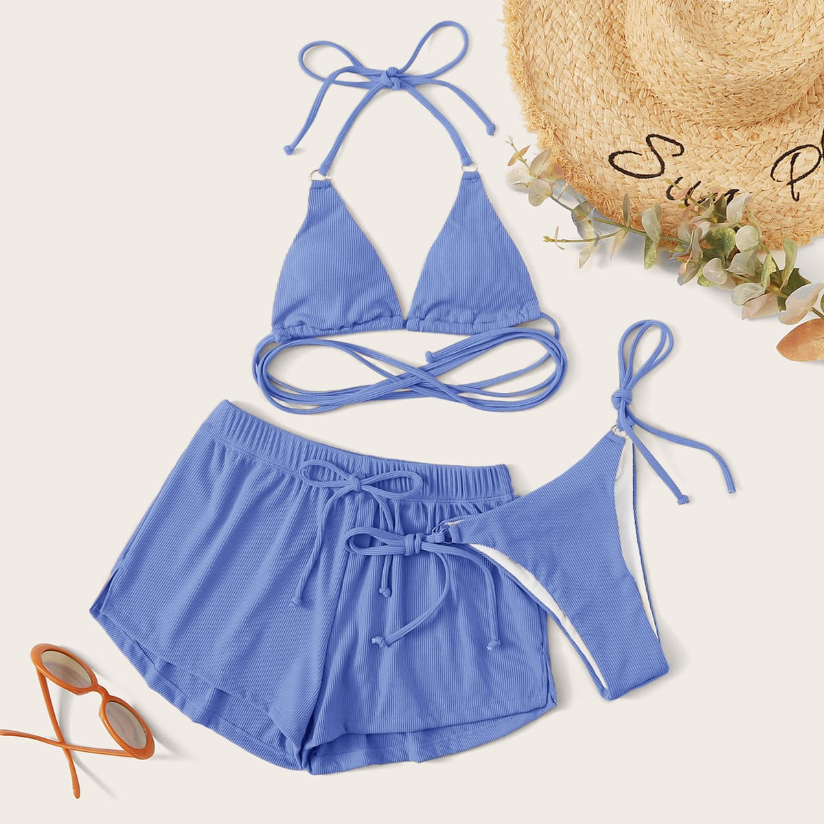 3pack Rib Triangle Tie Side Co-ord Bikini Swimsuit thumbnail
