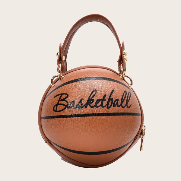Letter Graphic Basketball Shaped Satchel Bag, Brown