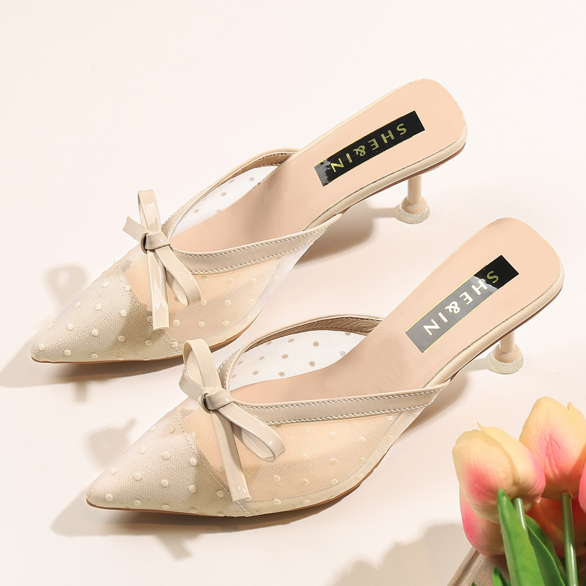 Bow Decor Stiletto Heeled Mules, SHEIN  - buy with discount