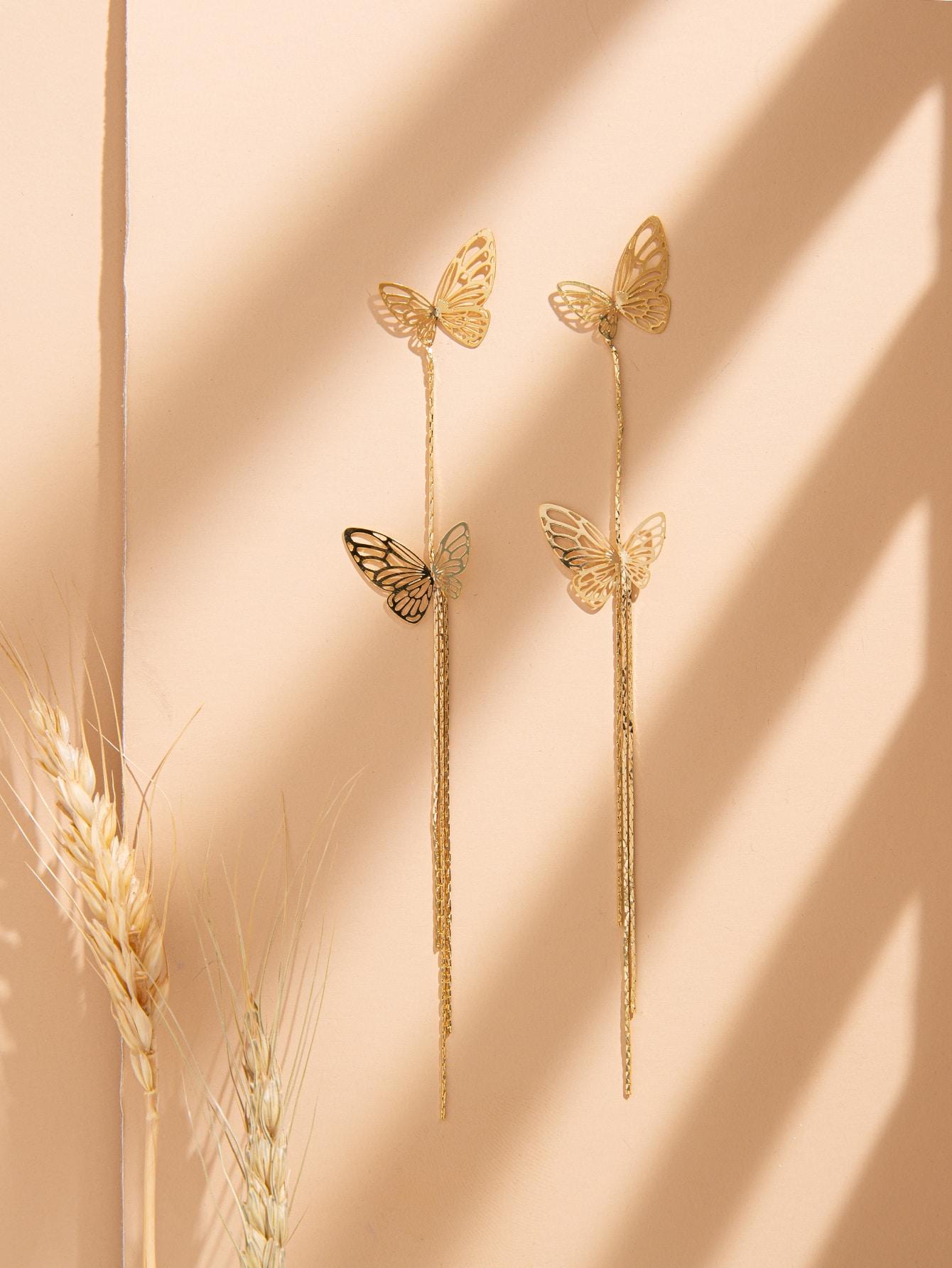 Butterfly Decor Long Drop Earrings thumbnail