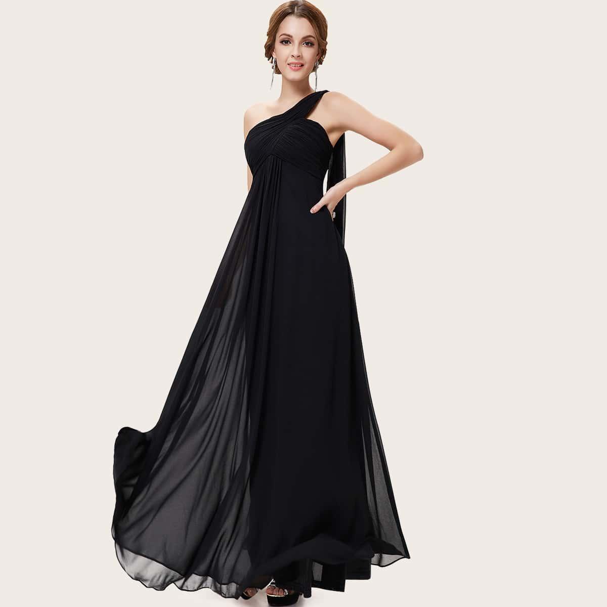 Платье на одно плечо со сборками