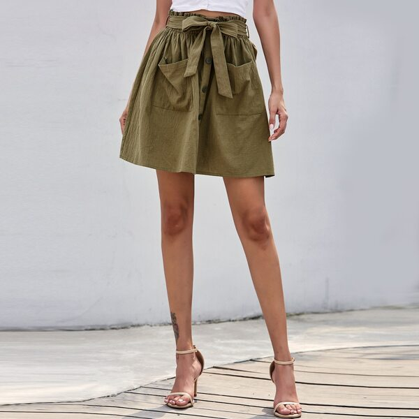 Dual Pocket Button Front Belted Skirt, Army green