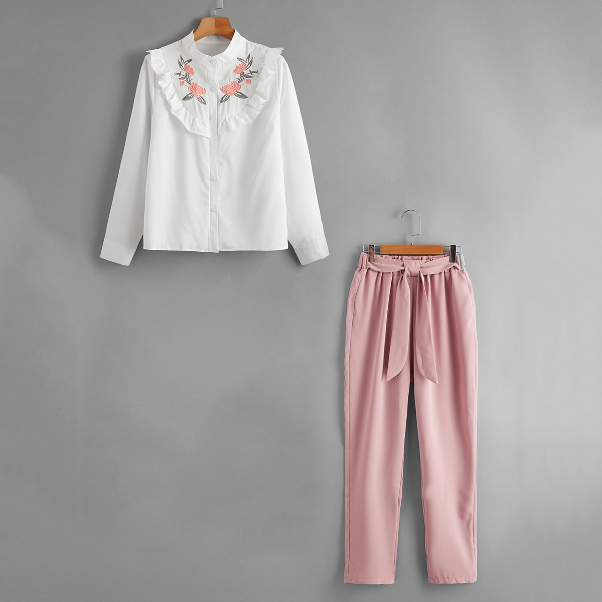 Floral Embroidery Ruffle Trim Blouse & Belted Pants thumbnail