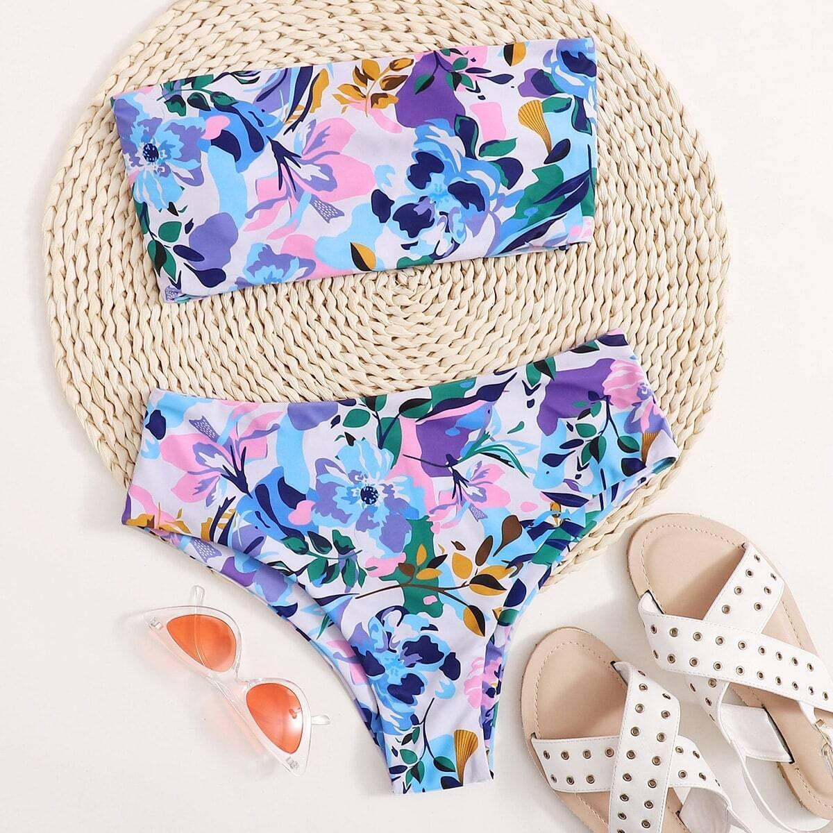 Цветочный купальник бикини на шнурках
