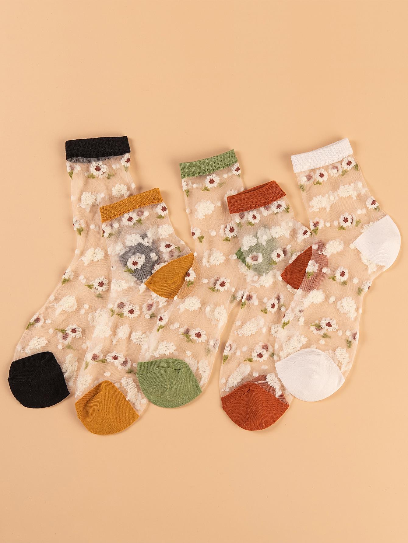 5pairs Floral Pattern Mesh Socks thumbnail