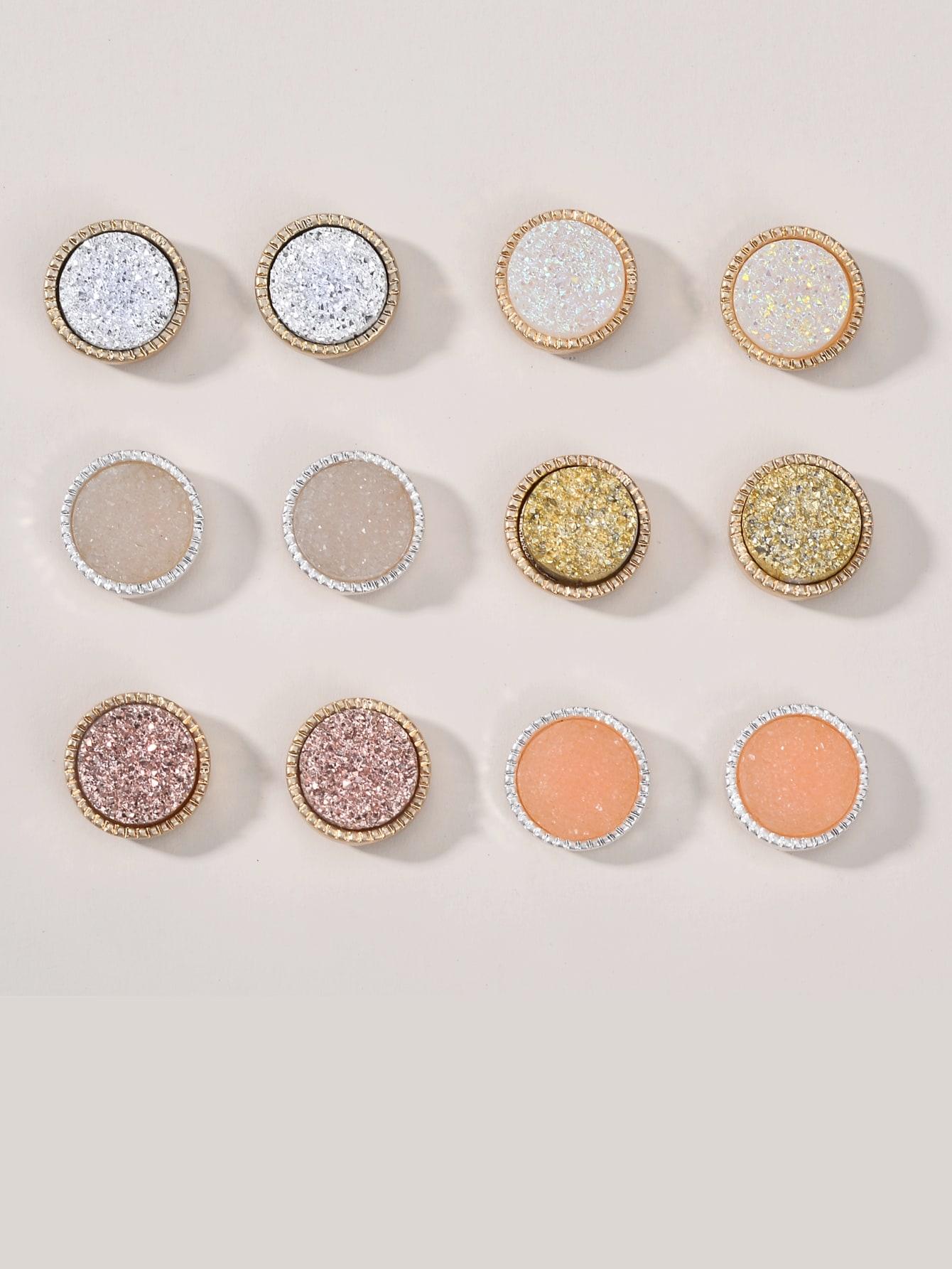 6pairs Glitter Stud Earrings thumbnail