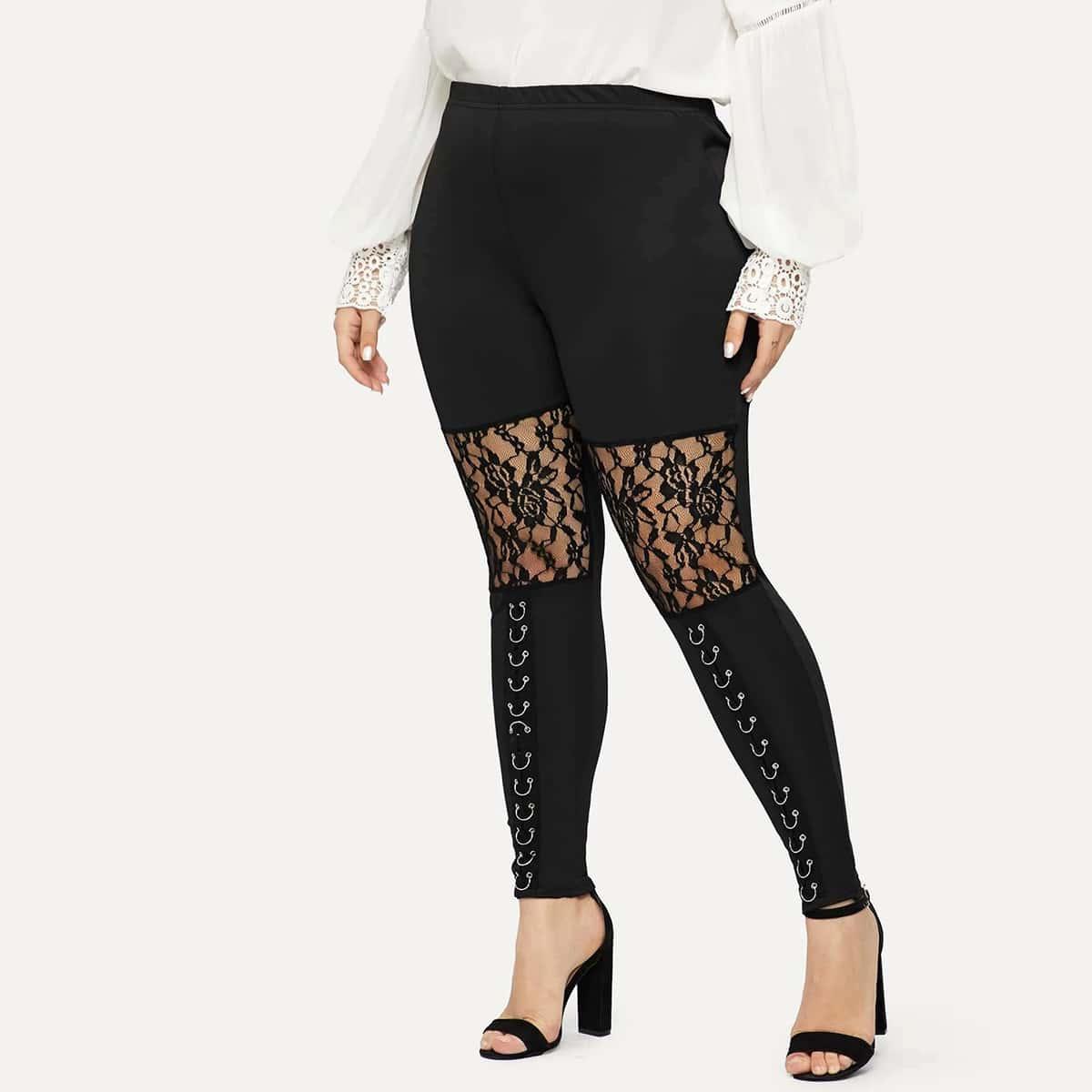 Plus Lace Panel Grommet Skinny Pants thumbnail