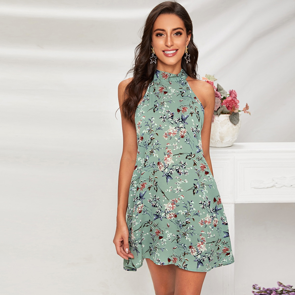 Tie Back Floral Print Dress, SHEIN  - buy with discount