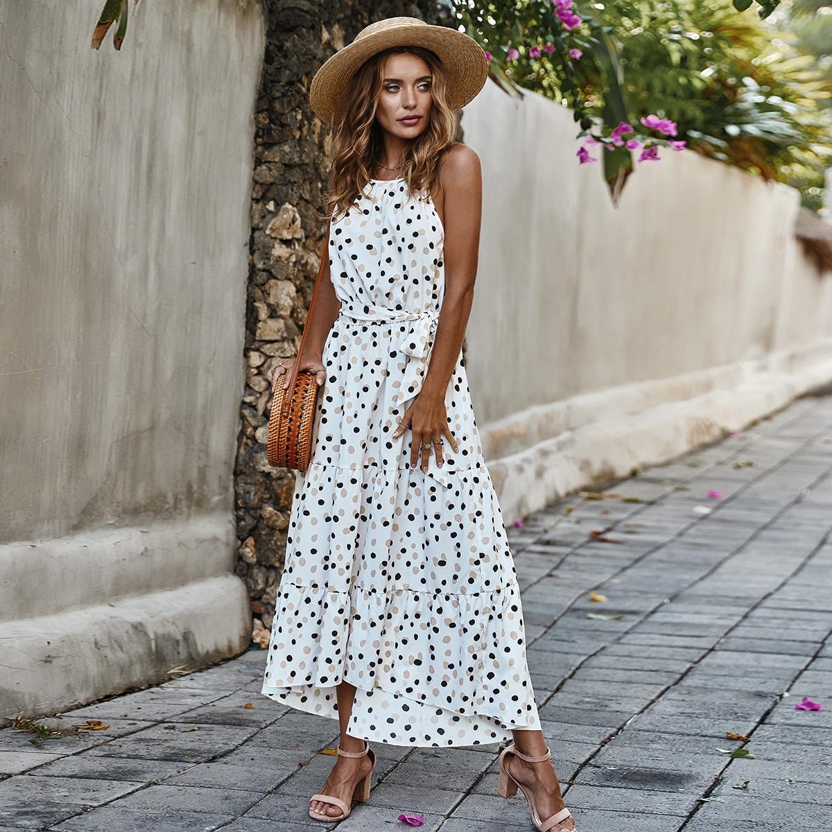 Платье-халтер с поясом и далматинским принтом