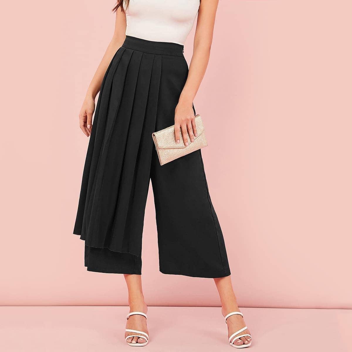 Плиссированные широкие короткие брюки