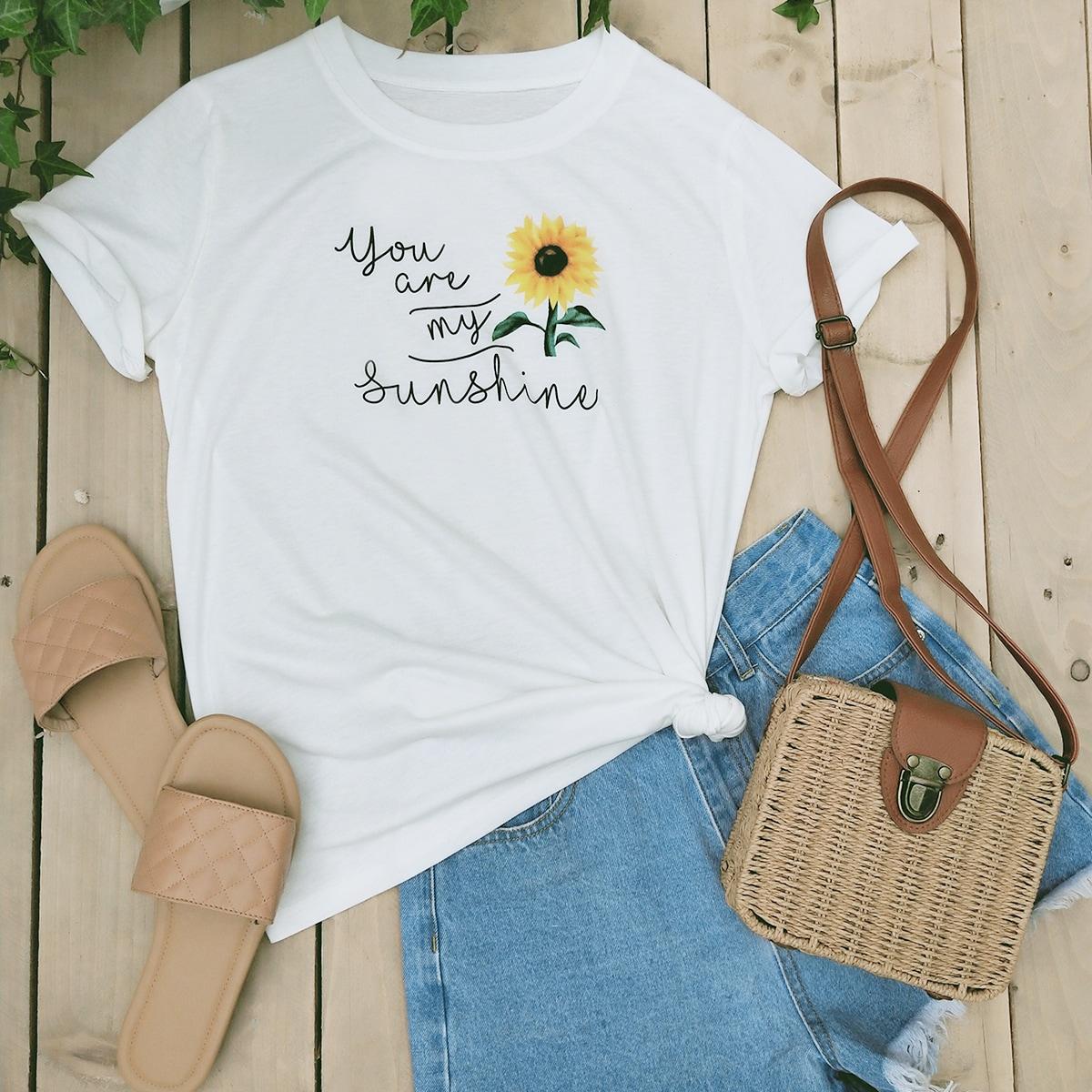 Sunflower & Slogan Graphic Tee thumbnail
