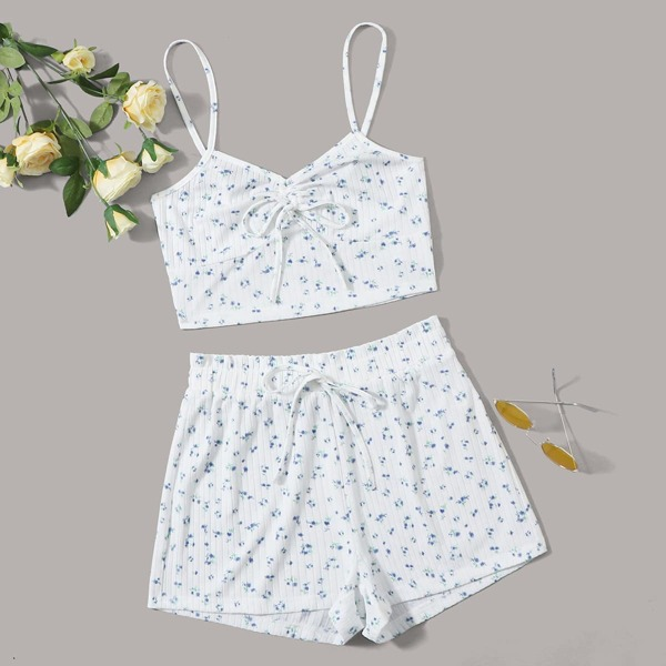 Ruched Knot Front Ditsy Floral Cami Top & Shorts PJ Set, White