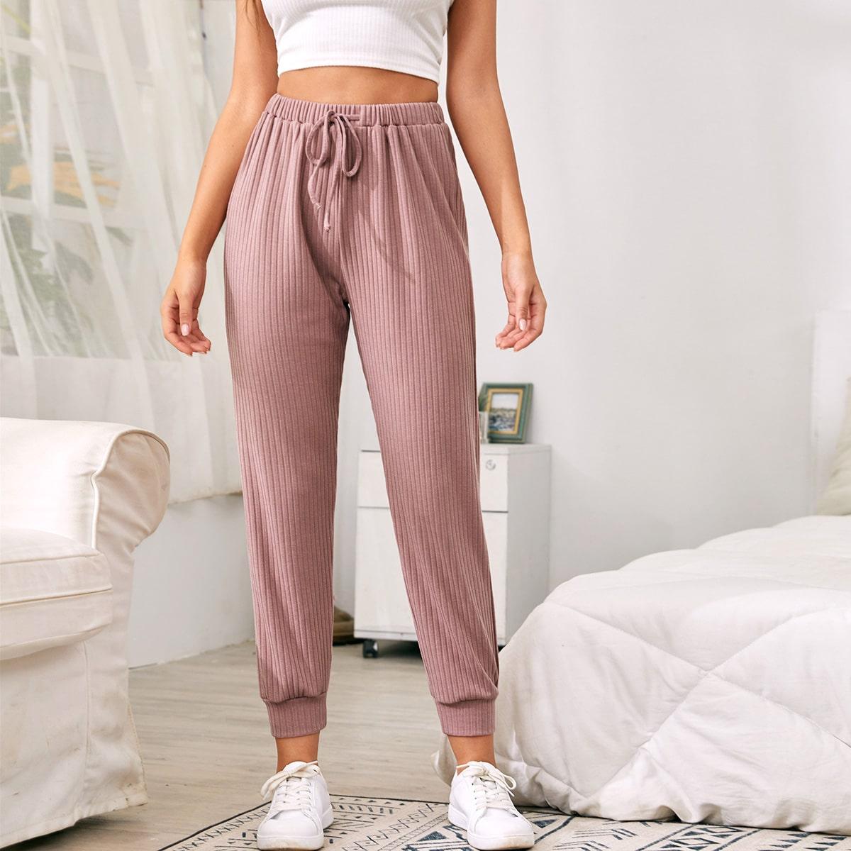 Pantalones de cintura con cordón tejidos de canalé