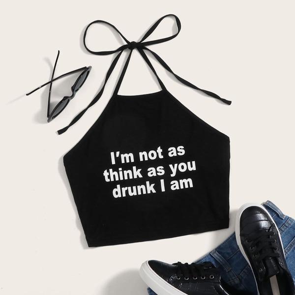 Slogan Graphic Self Tie Halterneck Top, Black