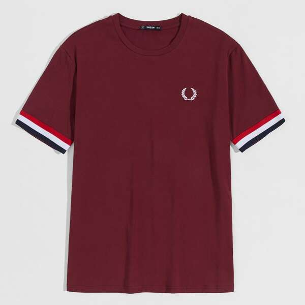 Men Contrast Striped Cuff Embroidered Detail Tee, Burgundy