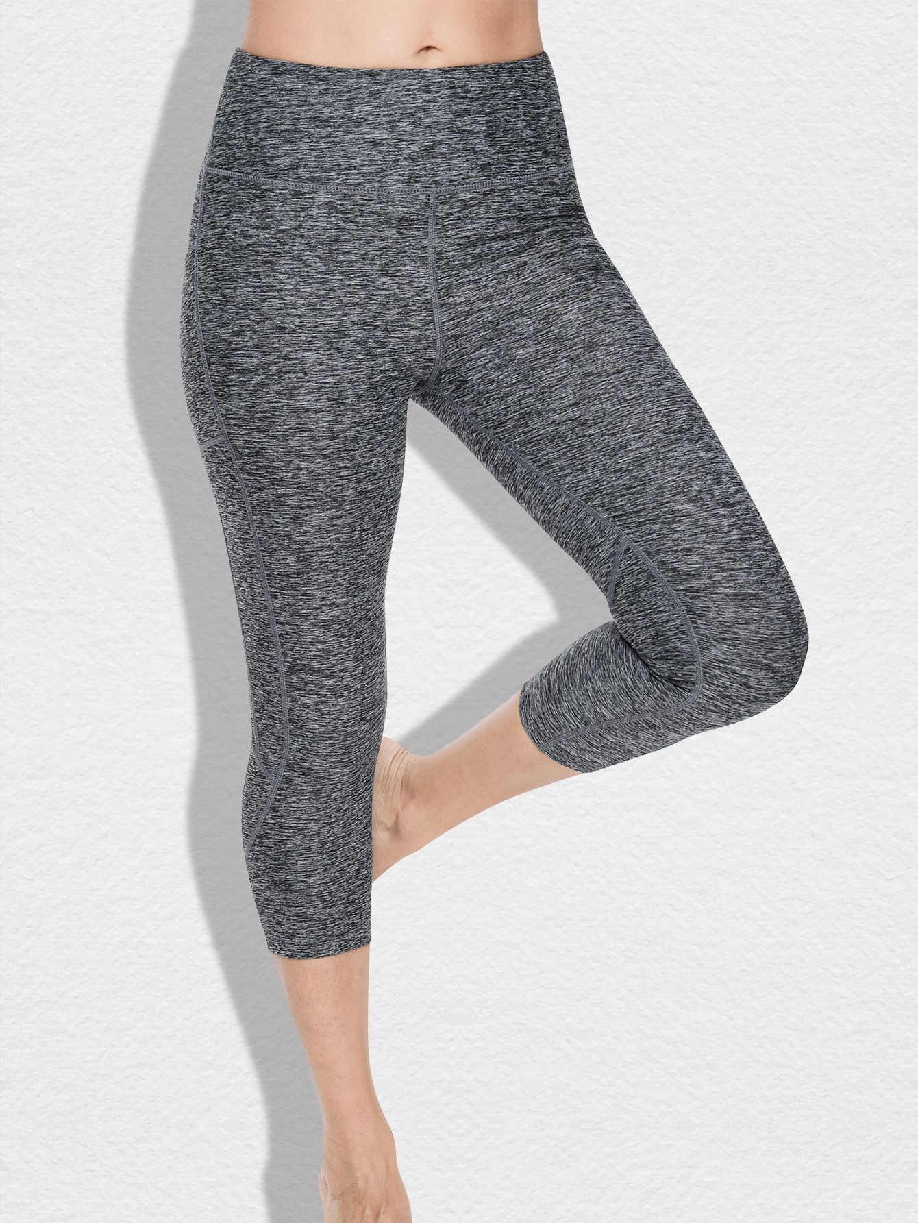 Zip Pocket Back Wide Waistband Marled Sports Leggings thumbnail