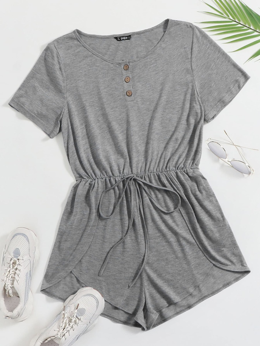 Button Front Tulip Hem Heather Knit Tee Romper  .00  SHEIN- FREE SHIPPING!