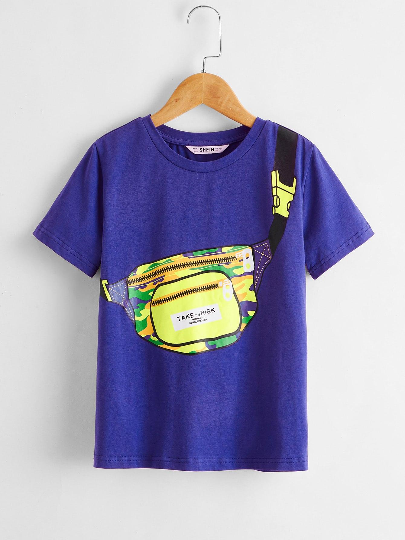 SHEIN Футболка с принтом сумки для мальчиковsktee07200408295