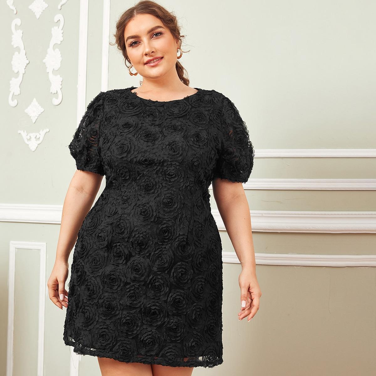 Сетчатое платье размера плюс с пышными рукавами