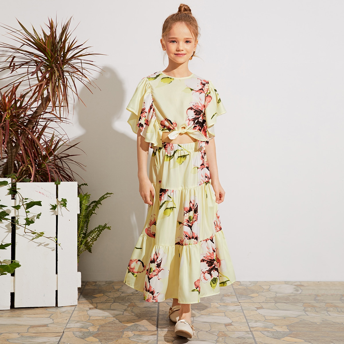 Цветочные юбка и топ с узлом для девочек