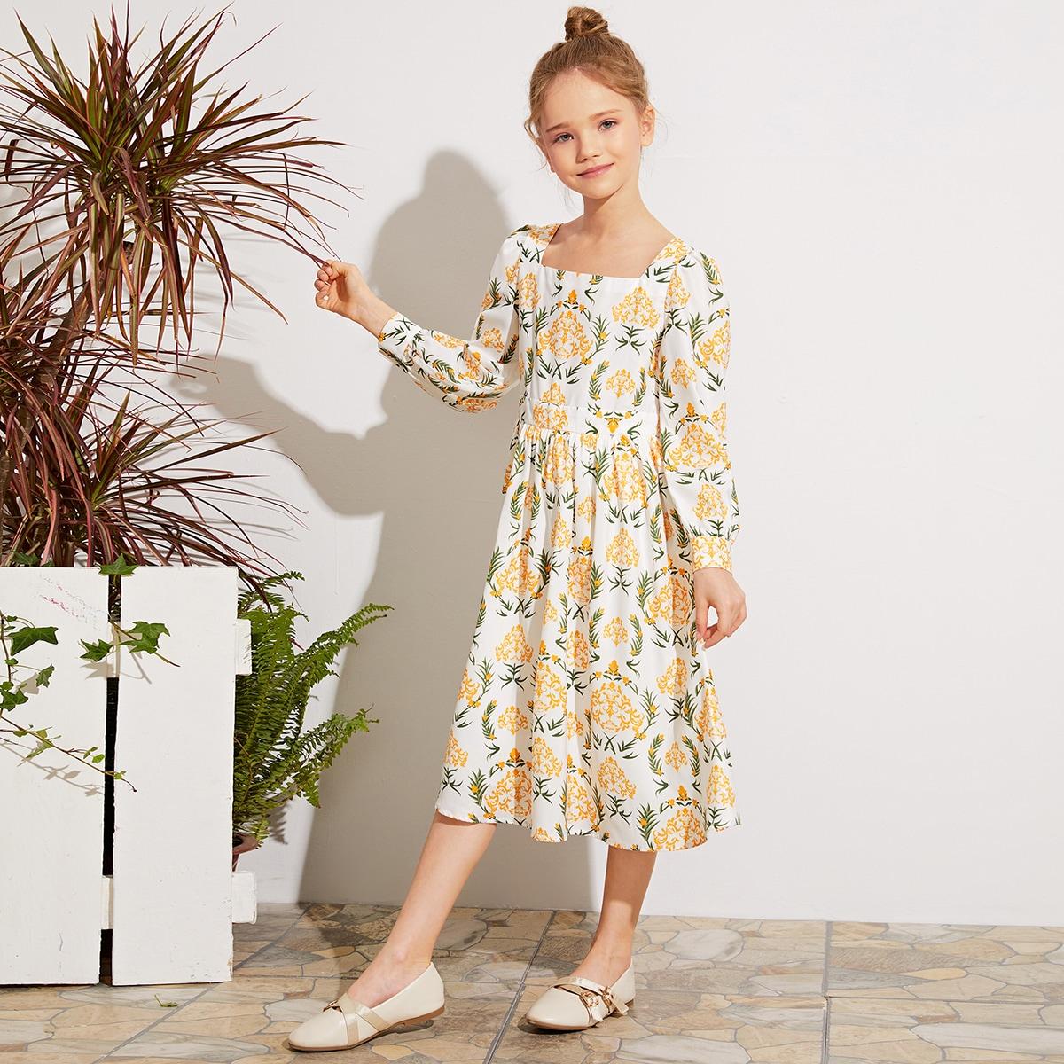 Платье с квадратным вырезом и принтом для девочек