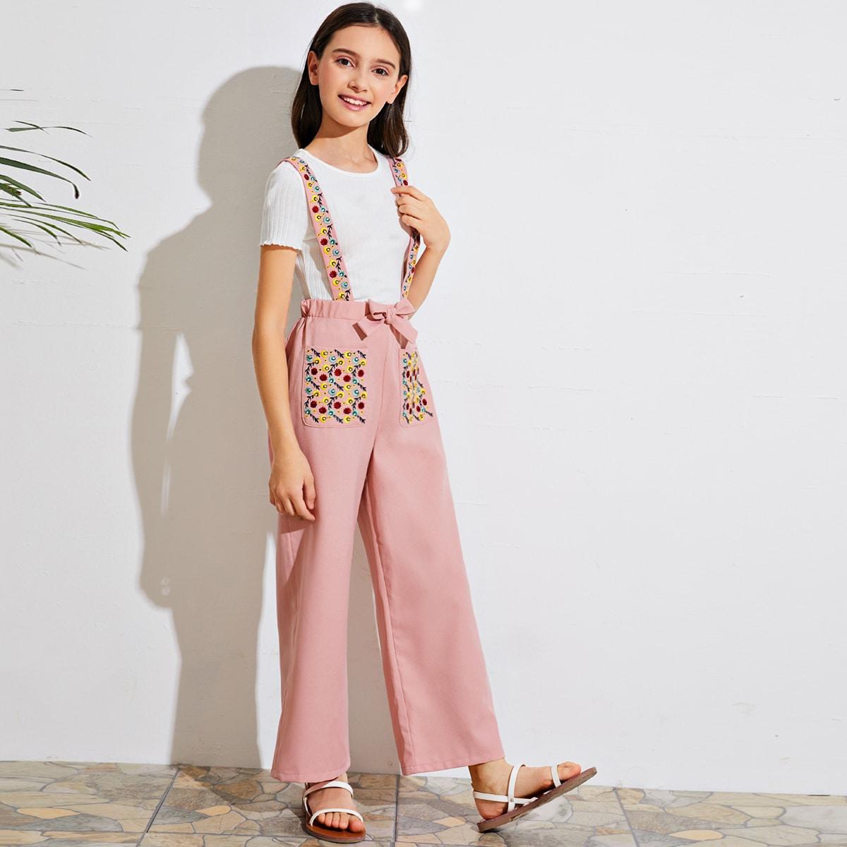 Сарафан-брюки с вышивкой и карманом для девочек