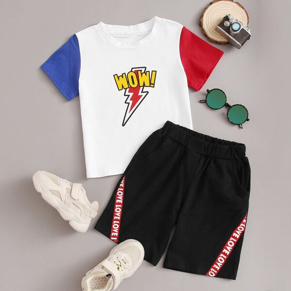 Toddler Boys Letter & Geo Print Tee With Track Shorts, Multicolor