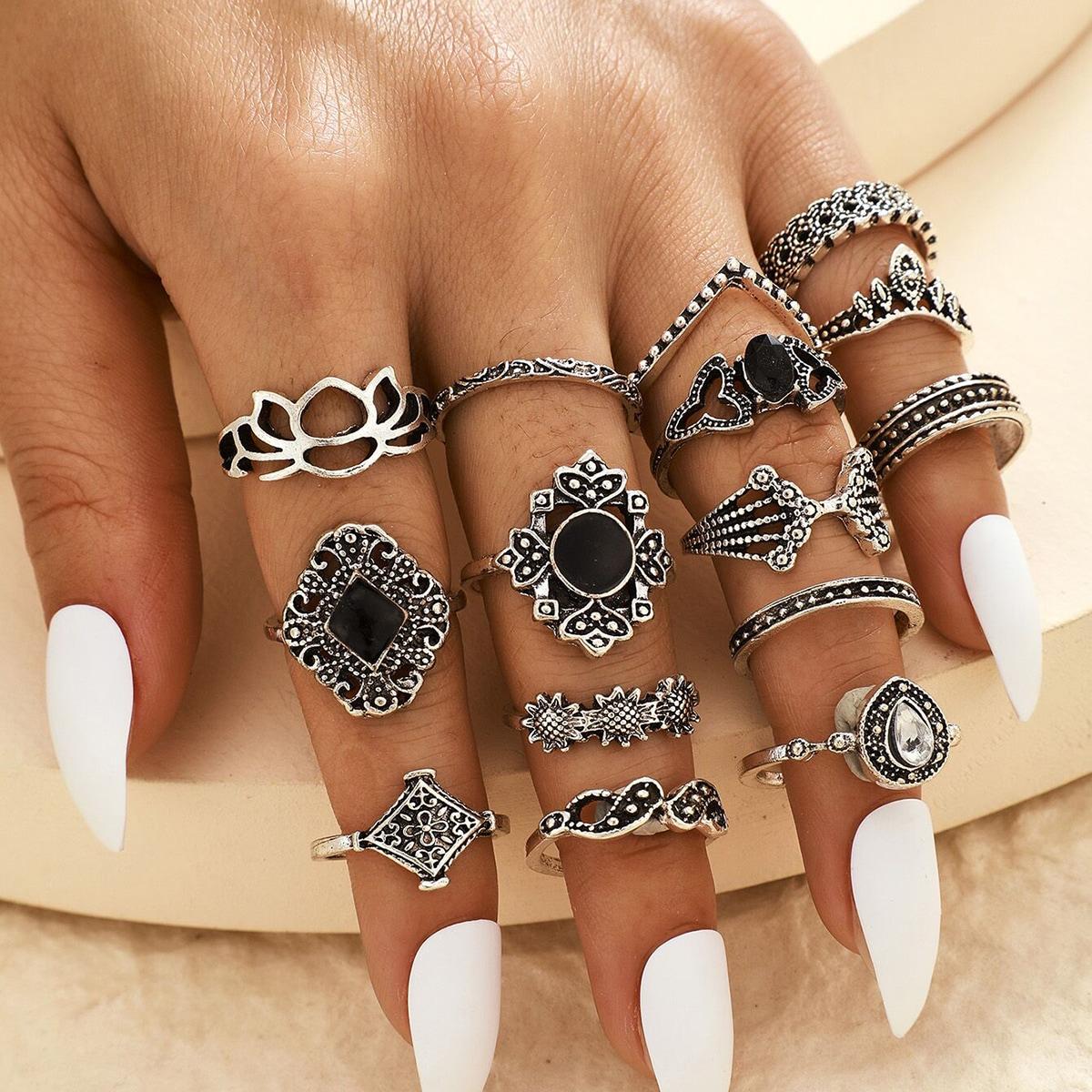 Комплект кольца с украшением цвета и лотоса 15 шт