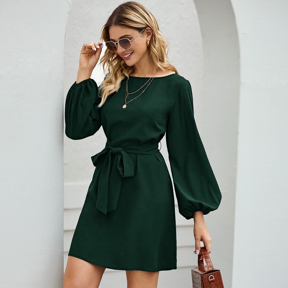 Платье с оригинальным рукавом и поясом