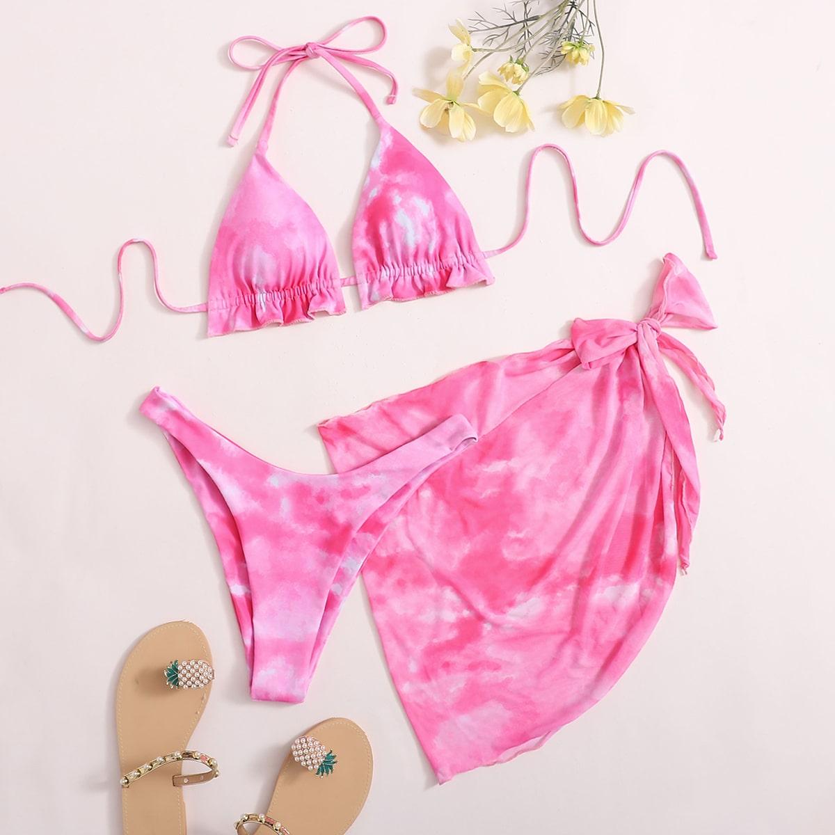 3 пакета разноцветный купальник бикини и пляжная юбка