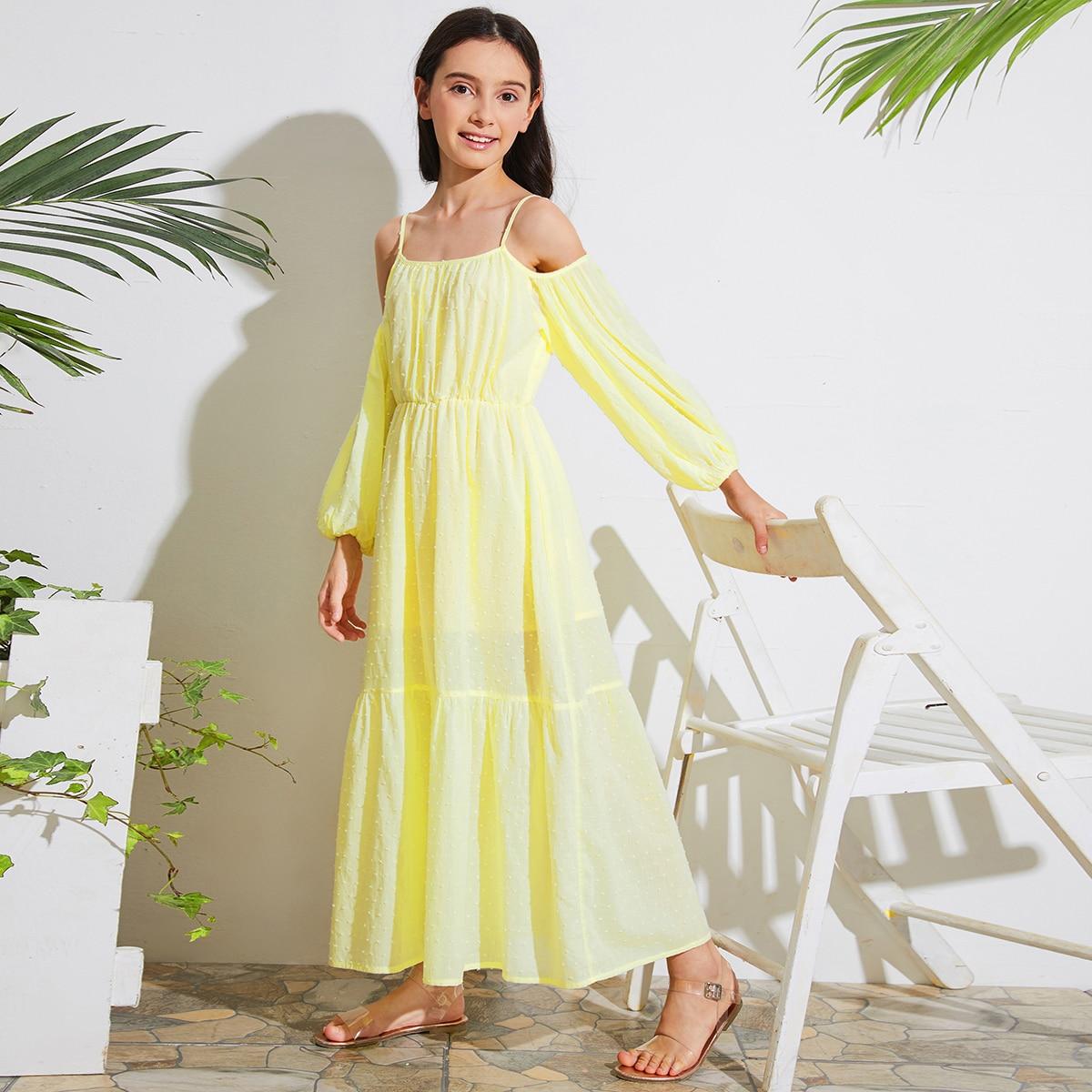Платье с открытыми плечами для девочек