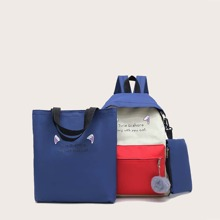 3pcs Colorblock Backpack With Pencil Case