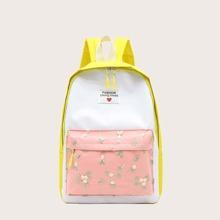 Floral Embroidery Pocket Backpack