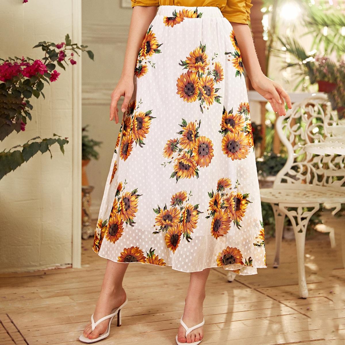 Sunflower Print Swiss Dot Flared Skirt thumbnail