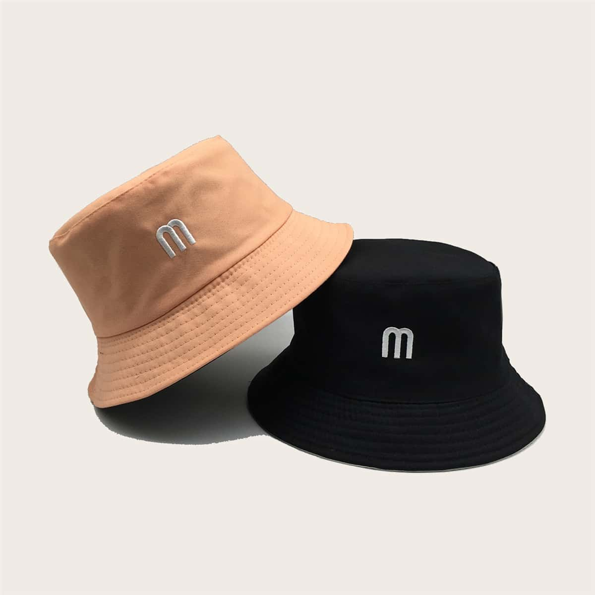 Шляпа ведра вышивки письма 2pcs