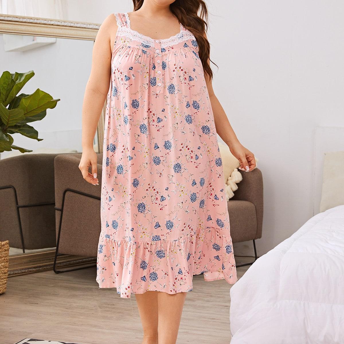 Ночная рубашка размера плюс с цветочным принтом и кружевной отделкой