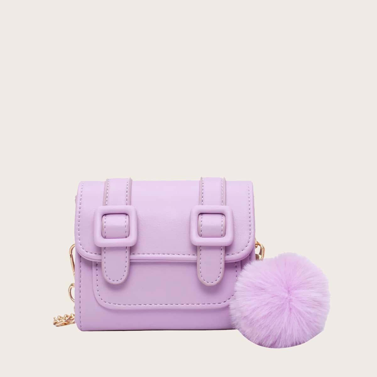 Мини сумка через плечо с пряжкой и помпоном