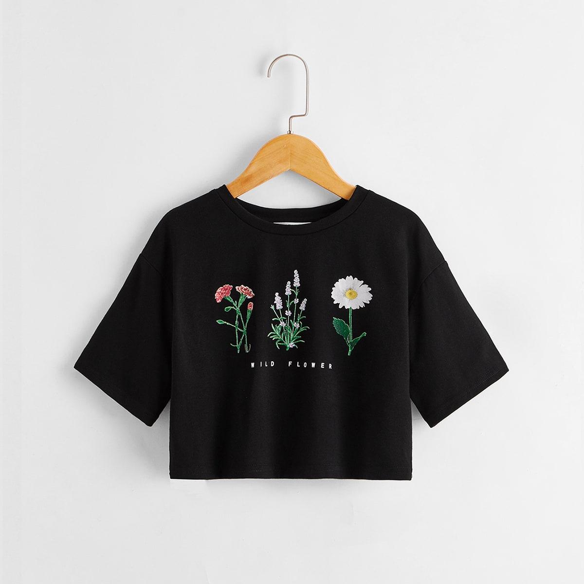 T-shirt à imprimé floral et lettres