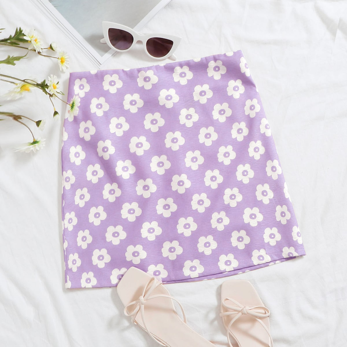 Цветочная юбка с молнией сзади