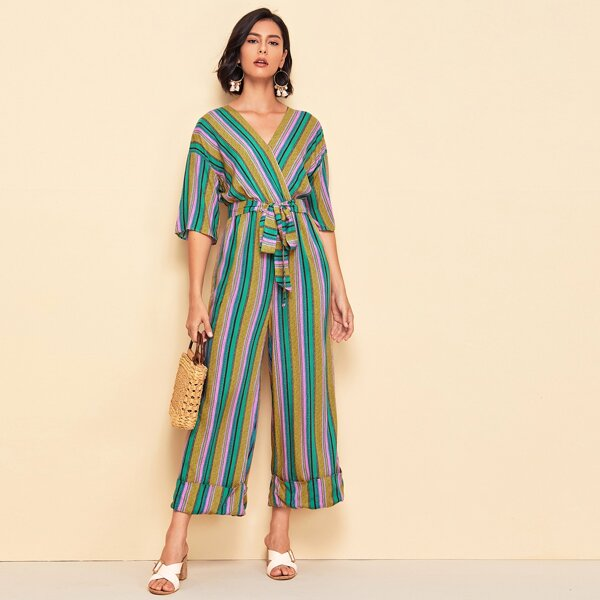 Drop Shoulder Self Belted Cuffed Striped Jumpsuit, Multicolor