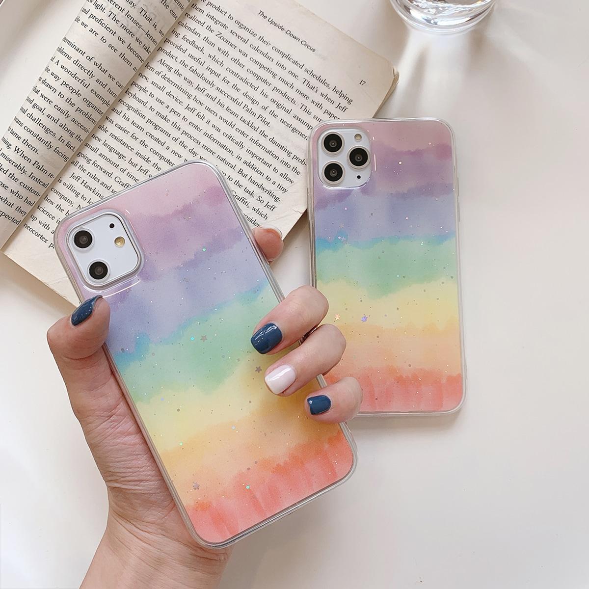 iPhone Hülle mit Glitzer und Regenbogen Design