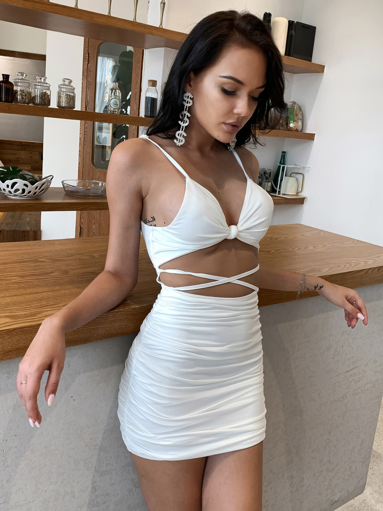 Twist Front Tie Back Ruched Bodycon Dress thumbnail