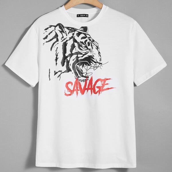 Men Tiger & Letter Graphic Tee, White