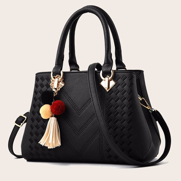 Pom-pom & Tassel Decor Satchel Bag, Black