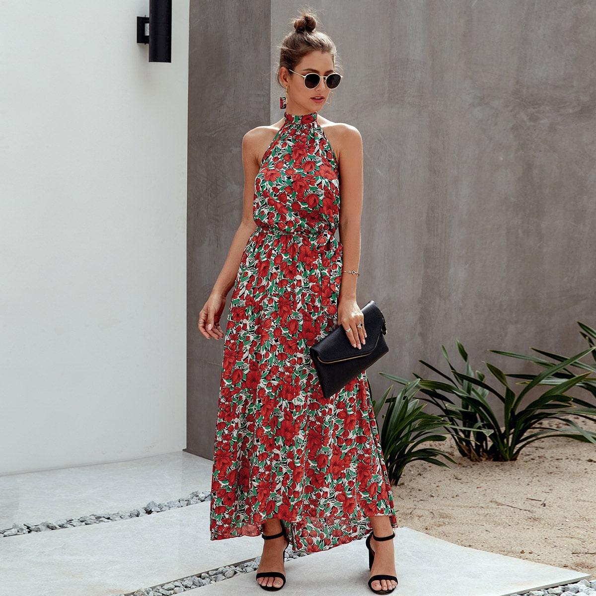 Цветочное платье-халтер макси